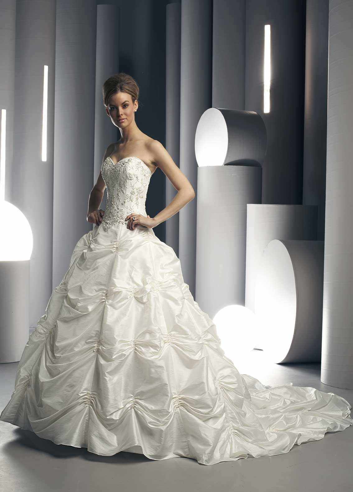 Taffeta Wedding gown, starburst gathers and chapel length train.