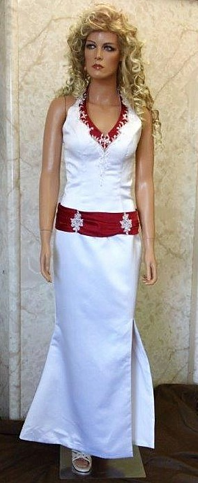 White and red dropped waist halter wedding dress