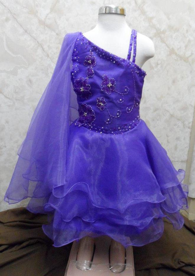 purple toddler pageant dress with beaded flowers
