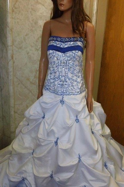 white and bright blue wedding gown