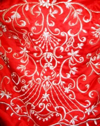 red and white wedding dress embroidery