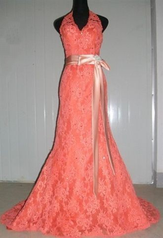 Persimmon pageant gown with peach sash