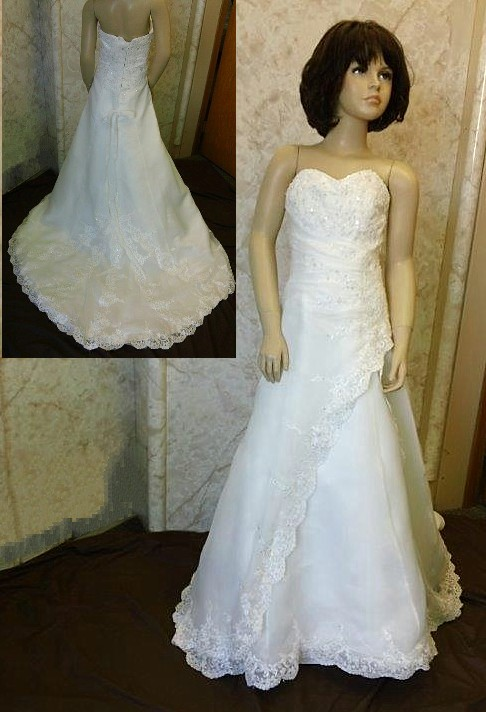 Beaded lace side drape with satin split front flower girl dress