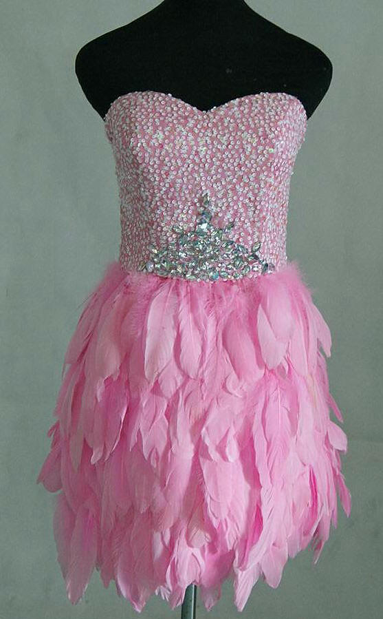 Mini Pink Feather skirt dress