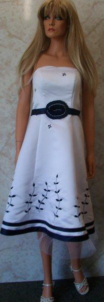 white and navy womens dress with optional jacket