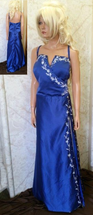 Blue and ivory bridesmaid dress with split front