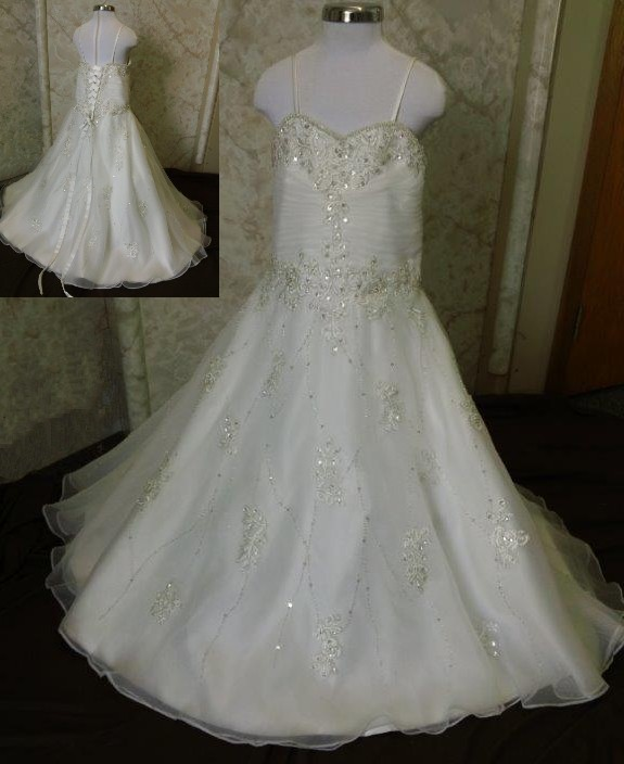 crystal beaded flower girl dress