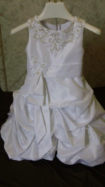 Wedding gown and matching infant flower girl dress
