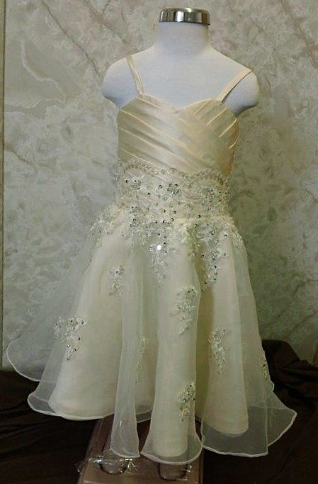 Sweetheart lace appliqued flower girl dress