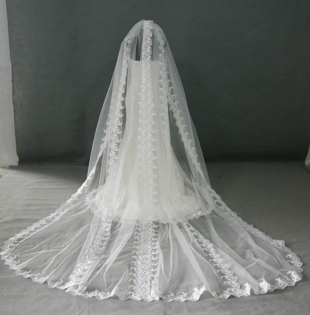 white lace trim cathedral length veil