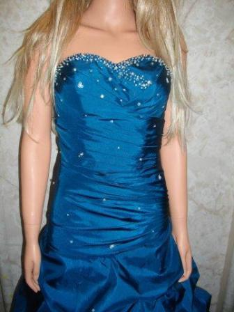 Teal Sweetheart ruched pickup prom dress with lace up back