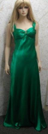 long silk dress in green