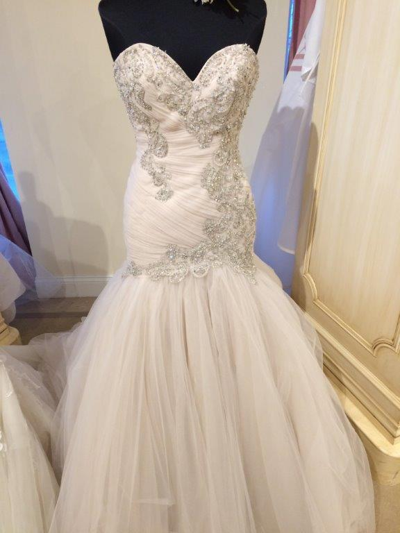 Infant fit and flare tulle wedding dress with lace for Matching wedding and flower girl dresses