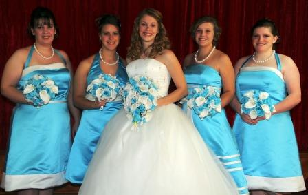 pool blue and white bridesmaid dresses