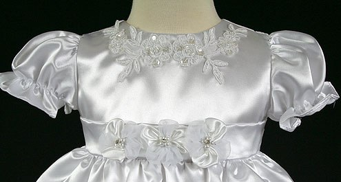 Christening gowns embroidery applique on neckline