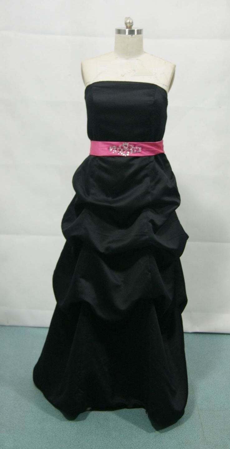 Bridesmaid dress in black with watermelon sash