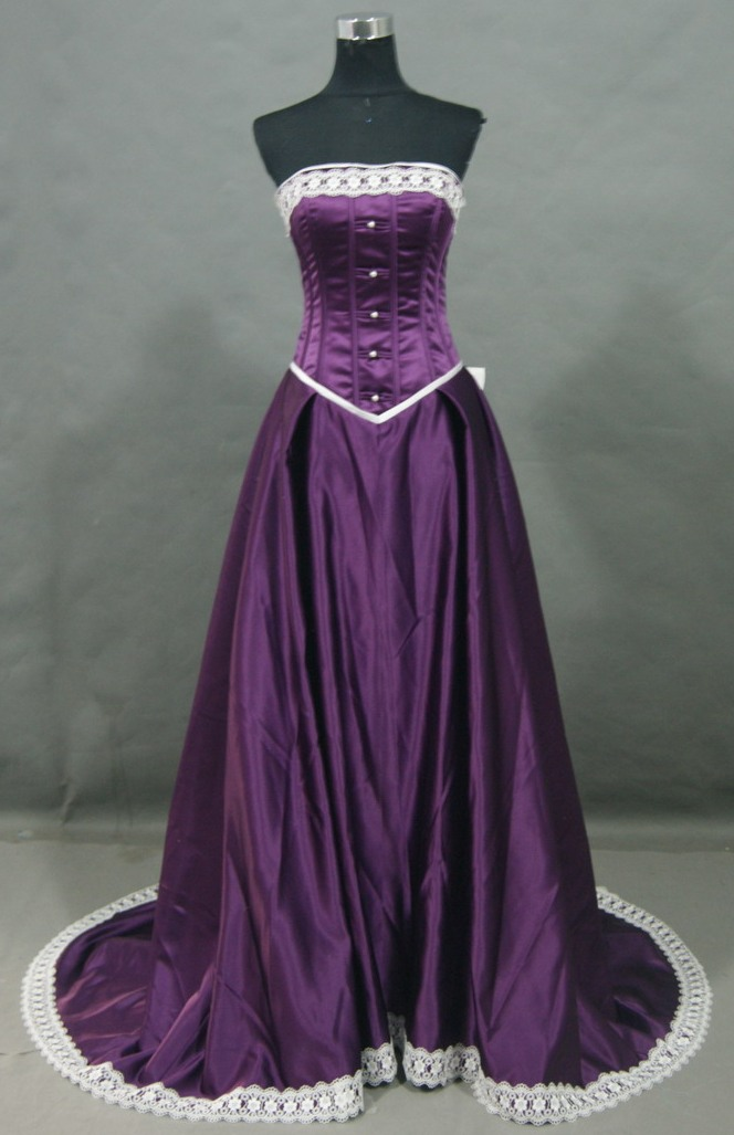 purple silk prom dress with ivory lace