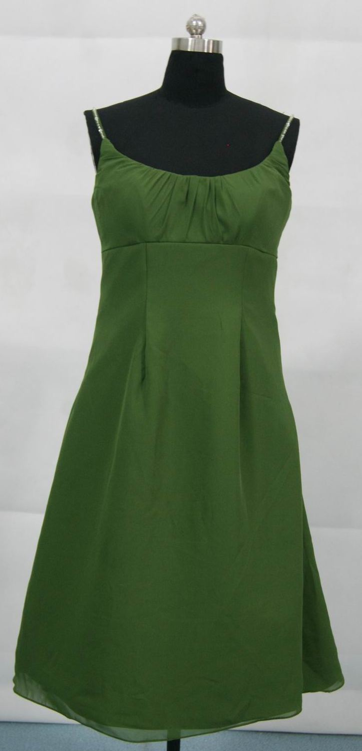 short chiffon green clover bridesmaid dress