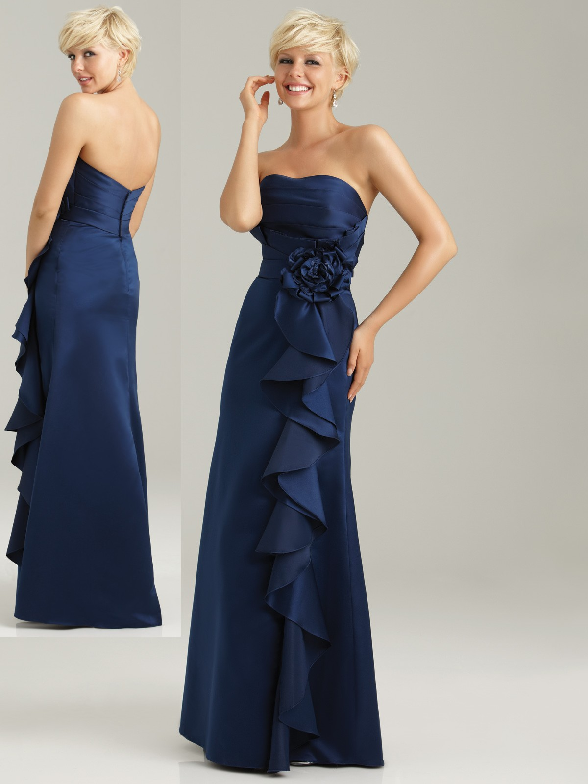 navy blue ruffle bridesmaid dress