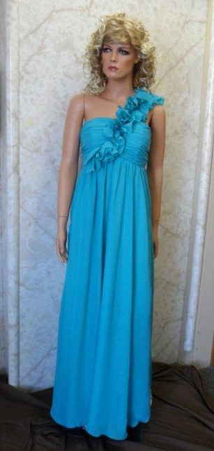 Teal Long Chiffon One Shoulder Dress