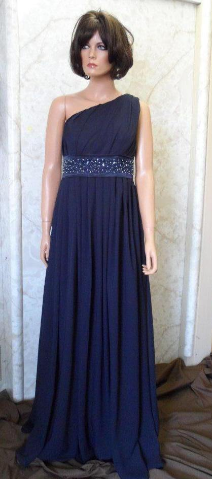navy chiffon one shoulder dress