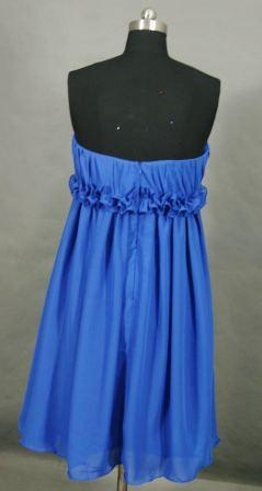 short strapless blue bridesmaid dress