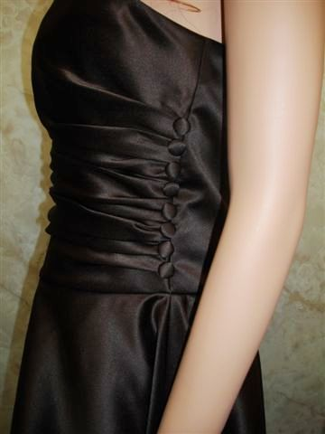 strapless short chocolate dress with side buttons