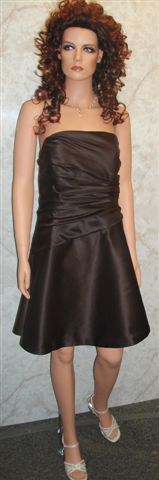 short bridesmaid dress in chocolate