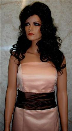 satin apricot and chocolate dress