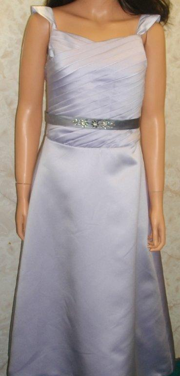 Orchid / Platinum satin floor length sheath bridesmaid dress
