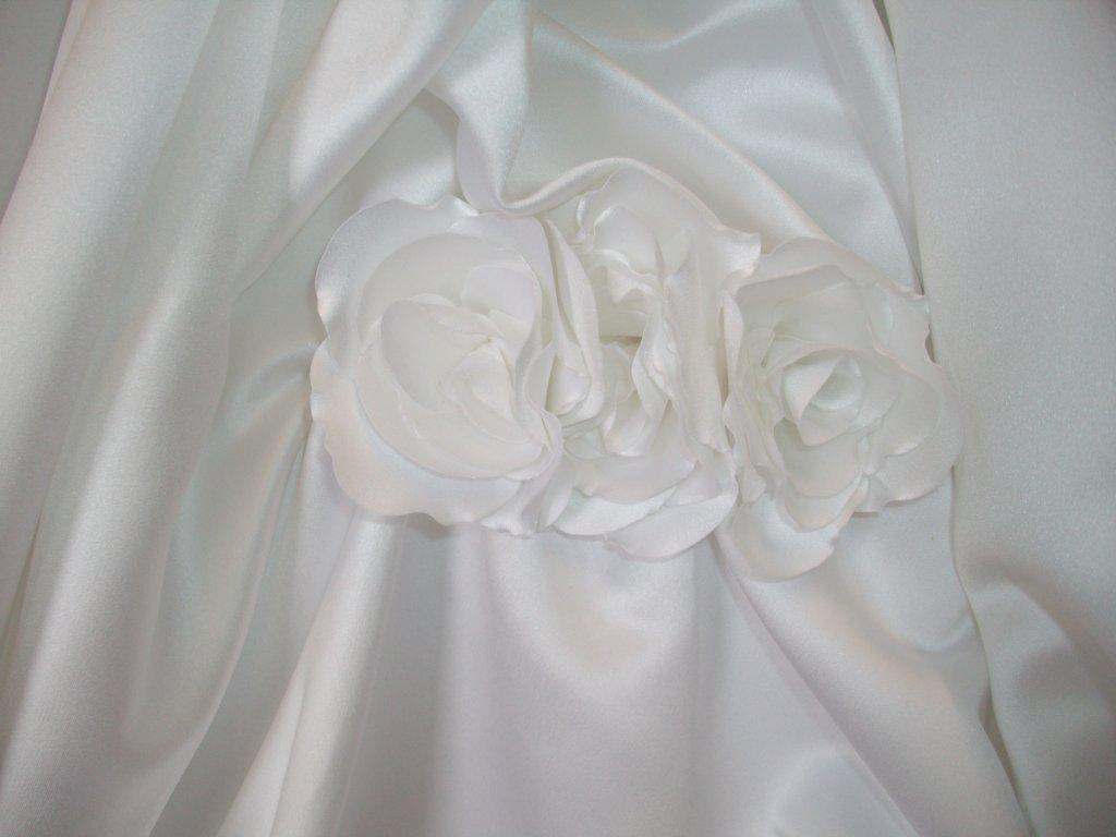 flower bustled wedding gown