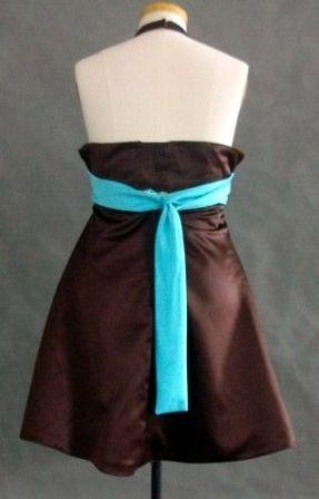 CHOCOLATE AND TURQUOISE DRESS