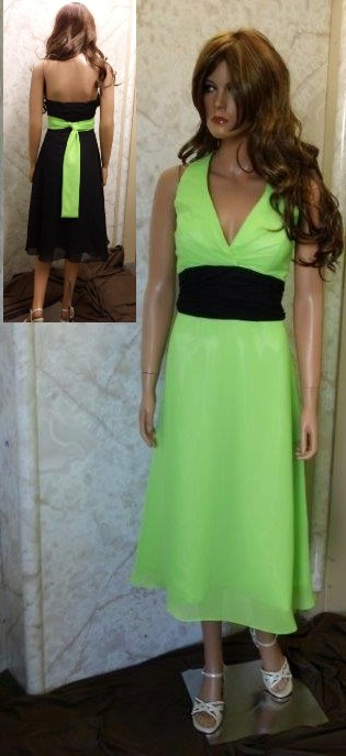lime green chiffon t-length bridesmaid dress with black sash