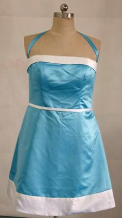 Short pool blue and white bridesmaid dress