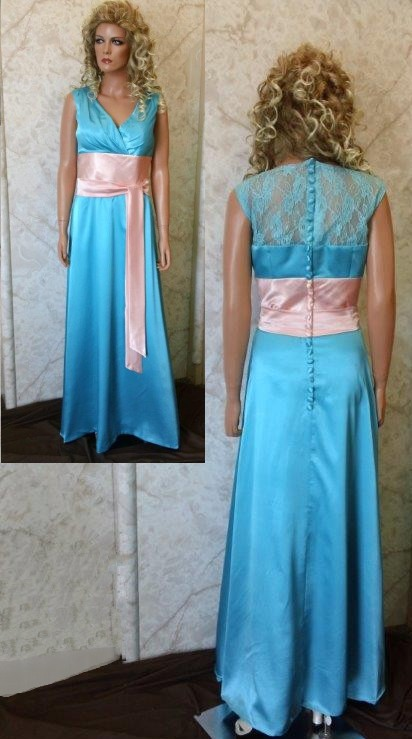 turquoise bridesmaid dresses with pink sash