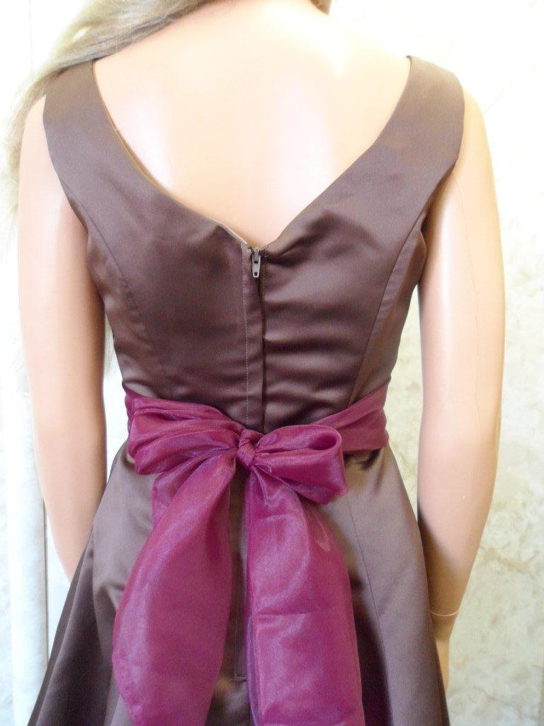 Chocolate and merlot Satin and tulle mother of the brides dress