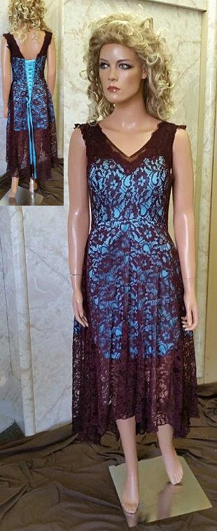 pool blue and brown lace dresses