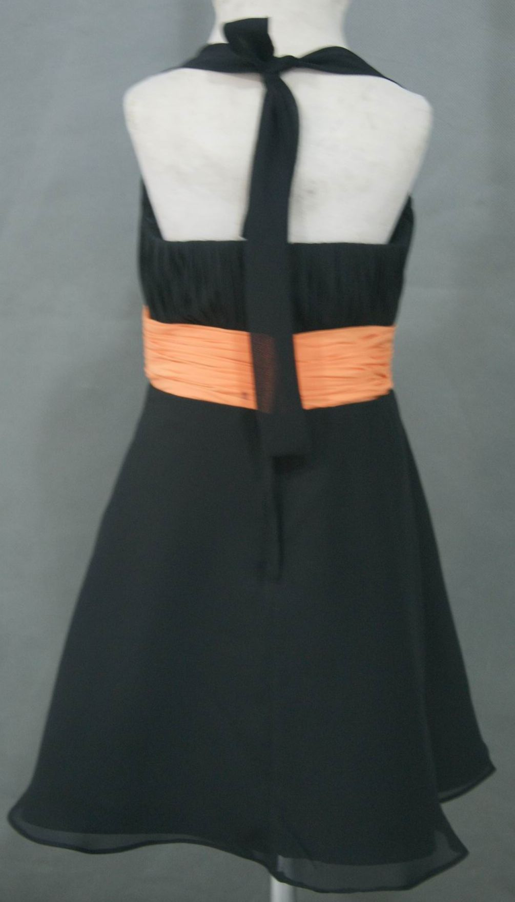 black chiffon dress with tangerine