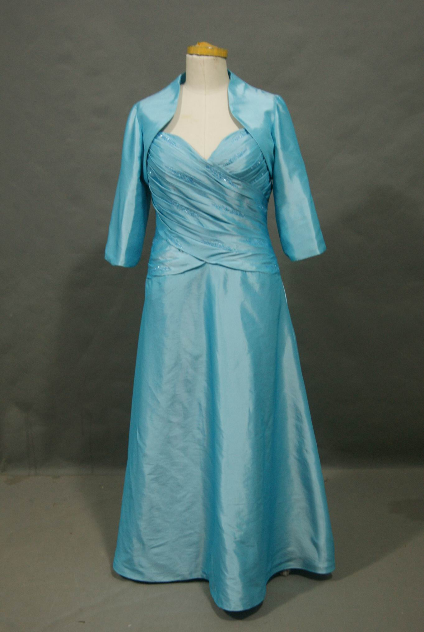pool blue mother of the bride dress with matching jacket