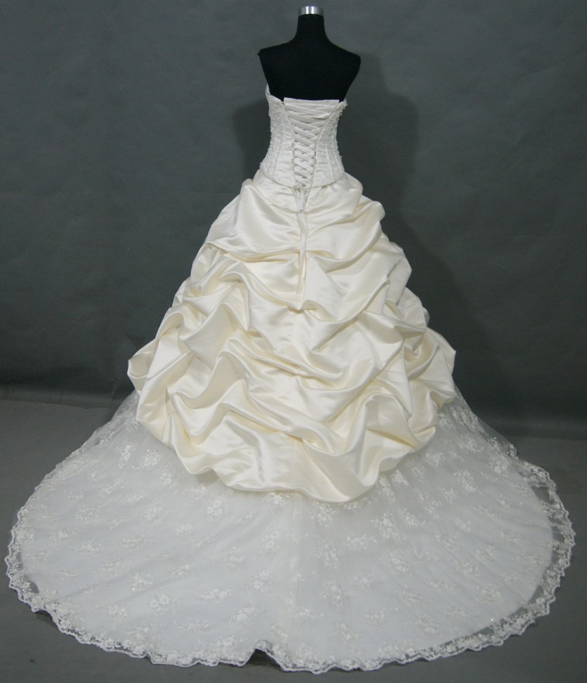 pickup dress with lace train