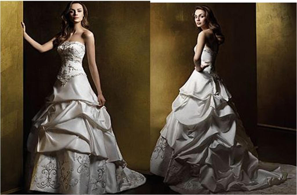 Bridal gowns with pick up skirt, corset wedding dresses.
