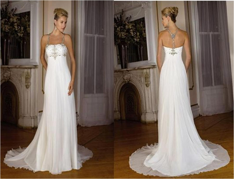 empire halter chiffon bridal gown