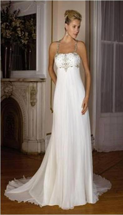 halter soft chiffon wedding dress