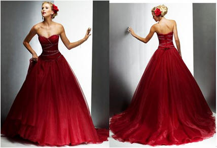 red strapless organza wedding dress