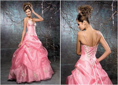 spaghetti strap prom dress