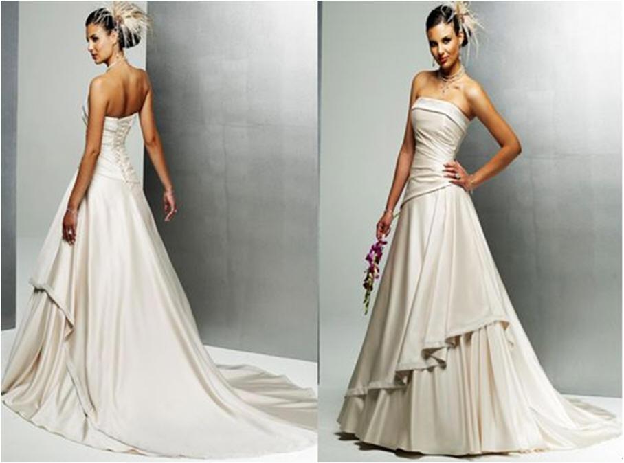 Asymmetric tiered wedding gown.