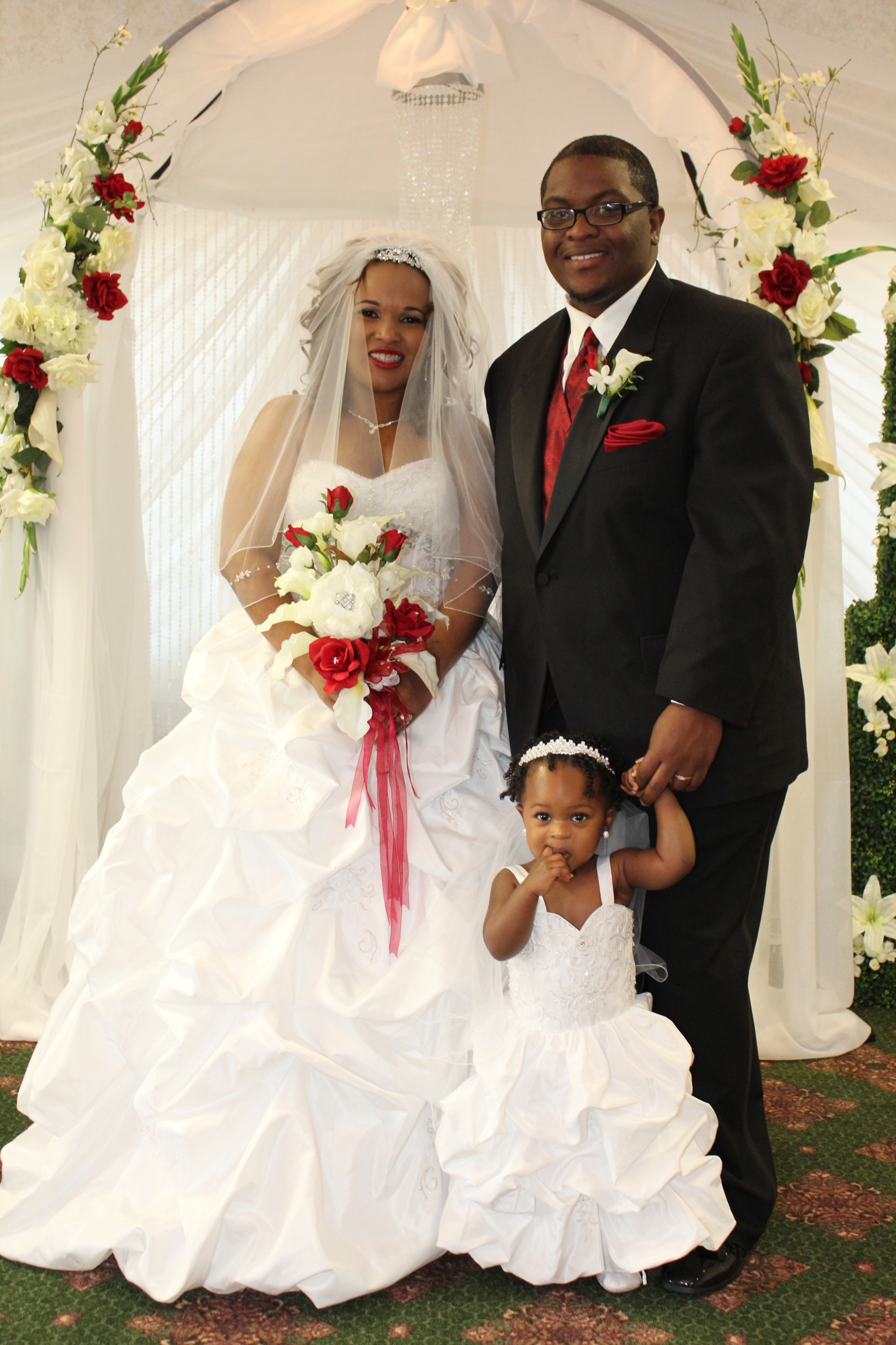 bride and matching flower girl dress