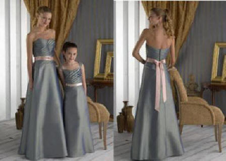 grey and pink Strapless bridesmaid dresses
