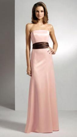 Pink Bridesmaid Gown with chocolate brown sash