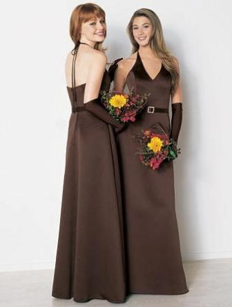 chocolate brown halter bridesmaid dresses